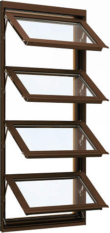 YKKAP窓サッシ 装飾窓 フレミングJ[Low-E複層防犯ガラス] オーニング窓 [Low-E透明4mm+合わせガラス型7mm]:[幅730mm×高1370mm]