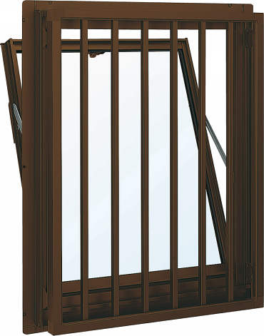 YKKAP窓サッシ 装飾窓 フレミングJ[Low-E複層防犯ガラス] 面格子付内倒し窓 たて格子[Low-E透明5mm+合わせ型7mm]:[幅640mm×高370mm]