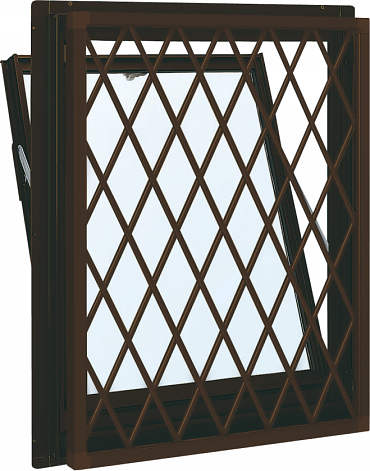 YKKAP窓サッシ 装飾窓 フレミングJ[Low-E複層防犯ガラス] 面格子付内倒し窓 ラチス格子[Low-E透明4mm+合わせ型7mm]:[幅730mm×高770mm]