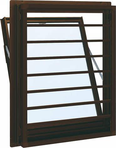 YKKAP窓サッシ 装飾窓 フレミングJ[Low-E複層防犯ガラス] 面格子付内倒し窓 横格子[Low-E透明4mm+合わせ型7mm]:[幅640mm×高370mm]