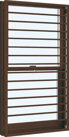 YKKAP窓サッシ 装飾窓 フレミングJ[複層防音ガラス] 面格子付片上げ下げ窓 横格子[透明4mm+透明3mm]:[幅405mm×高1370mm]