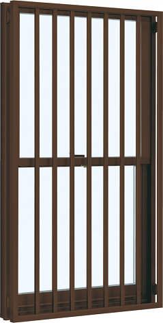 YKKAP窓サッシ 装飾窓 フレミングJ[複層防犯ガラス] 面格子付片上げ下げ窓 たて格子[透明3mm+合わせ透明7mm]:[幅730mm×高1370mm]
