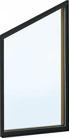 YKKAP窓サッシ 装飾窓 フレミングJ[複層防犯ガラス] 台形FIX窓 5寸勾配[型4mm+合わせ透明7mm]:[幅730mm×高570mm]