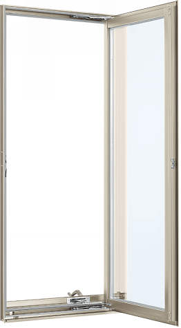 YKKAP窓サッシ 装飾窓 フレミングJ[複層防犯ガラス] たてすべり出し窓 オペレーター仕様[型4mm+合わせ透明7mm]:[幅405mm×高1170mm]