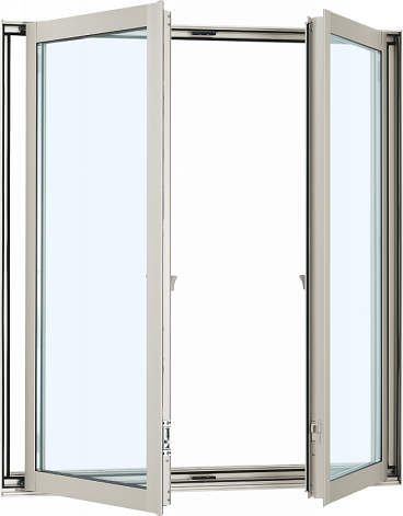YKKAP窓サッシ 装飾窓 フレミングJ[複層防犯ガラス] 両たてすべり出し窓 グレモン仕様[透明4mm+合わせ透明7mm]:[幅1235mm×高1170mm]