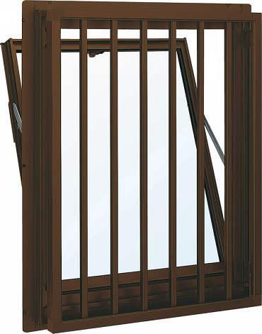 YKKAP窓サッシ 装飾窓 フレミングJ[複層防犯ガラス] 面格子付内倒し窓 たて格子[透明4mm+合わせ透明7mm]:[幅640mm×高370mm]