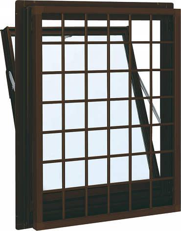 YKKAP窓サッシ 装飾窓 フレミングJ[複層防犯ガラス] 面格子付内倒し窓 井桁格子[透明3mm+合わせ透明7mm]:[幅640mm×高370mm]