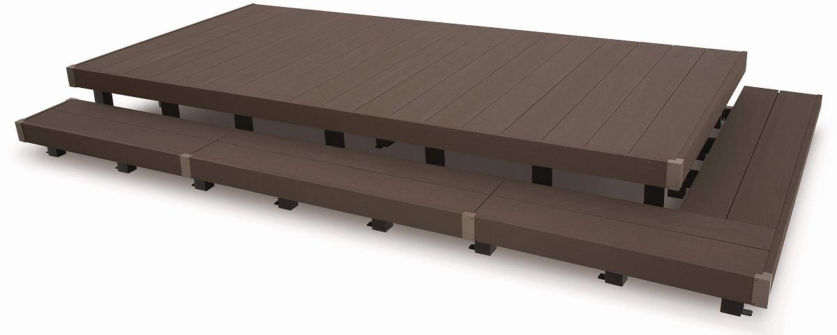 YKKAPオプション ガーデンエクステリア 庭まわり リウッドデッキ200:段床セット(1段正面・片側面タイプ) 幅:2間対応[デッキ本体奥行:920mm]