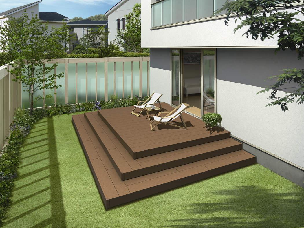 YKKAPオプション ガーデンエクステリア 庭まわり リウッドデッキ200:段床セット(2段片側面タイプ) 幅:1間、1.5間、2間対応[デッキ本体奥行:920mm]