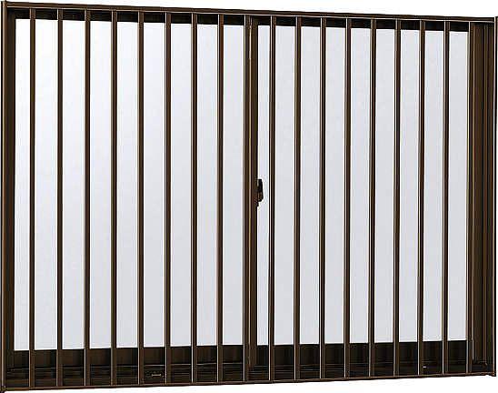 YKKAP窓サッシ 引き違い窓 フレミングJ[Low-E複層防犯ガラス] 2枚建[面格子付] 縦格子[半外付][透明3mm+合わせ型7mm]:[幅870mm×高770mm]