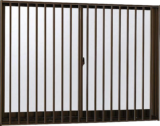 YKKAP窓サッシ 引き違い窓 フレミングJ[Low-E複層防犯ガラス] 2枚建[面格子付] 縦格子[半外付][透明4mm+合わせ透明7mm]:[幅730mm×高770mm]