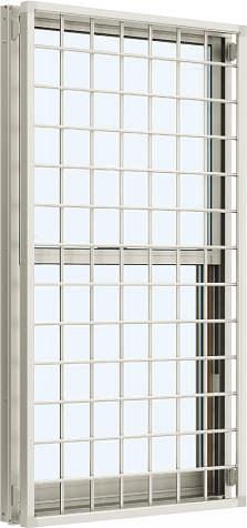 YKKAP窓サッシ 装飾窓 エピソード[Low-E複層防音ガラス] 面格子付片上げ下げ窓 井桁格子[Low-E透明5mm+透明3mm]:[幅780mm×高770mm]