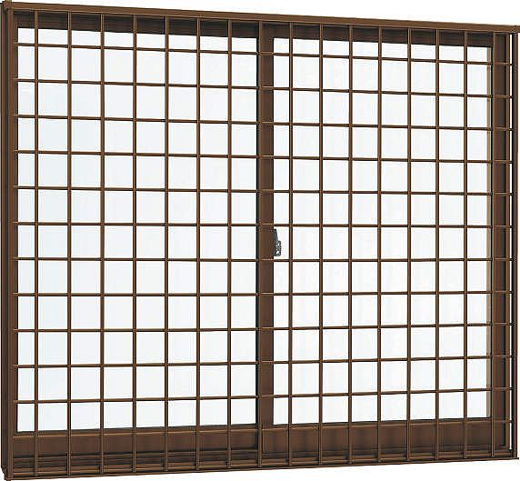 YKKAP窓サッシ 引き違い窓 フレミングJ[Low-E複層防犯ガラス] 2枚建[面格子付] 井桁格子[半外付][透明4mm+合わせ型7mm]:[幅1780mm×高1370mm]