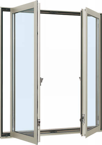 YKKAP窓サッシ 装飾窓 エピソード Low-E複層防音ガラス 両たてすべり出し窓 グレモン仕様 Low-E透明5mm 透明4mm 幅1235mm×高1370mm