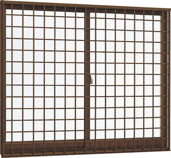 YKKAP窓サッシ 引き違い窓 フレミングJ[Low-E複層防犯ガラス] 2枚建[面格子付] 井桁格子[半外付][透明5mm+合わせ型7mm]:[幅1690mm×高570mm]