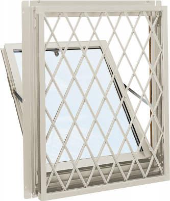 YKKAP窓サッシ 装飾窓 エピソード[Low-E複層防音ガラス] 面格子付内倒し窓 ラチス格子[Low-E透明5mm+透明4mm]:[幅405mm×高370mm]