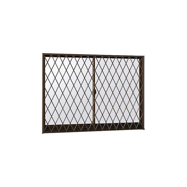 YKKAP窓サッシ 引き違い窓 フレミングJ[Low-E複層防犯ガラス] 2枚建[面格子付] ラチス格子[半外付][透明3mm+合わせ型7mm]:[幅640mm×高370mm]