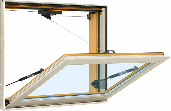 YKKAP窓サッシ 装飾窓 エピソード[Low-E複層防音ガラス] 外倒し窓 排煙錠仕様[Low-E透明5mm+透明3mm]:[幅730mm×高570mm]
