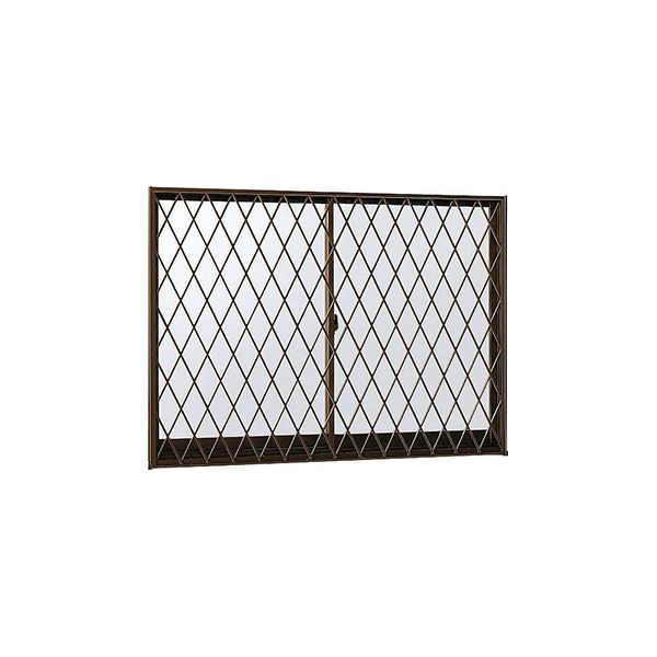 YKKAP窓サッシ 引き違い窓 フレミングJ[Low-E複層防犯ガラス] 2枚建[面格子付] ラチス格子[半外付][透明4mm+合わせ型7mm]:[幅1185mm×高970mm]