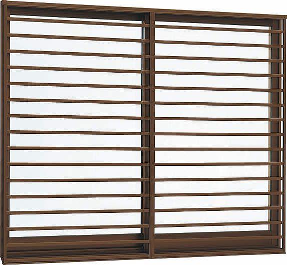 YKKAP窓サッシ 引き違い窓 フレミングJ[Low-E複層防犯ガラス] 2枚建[面格子付] 横格子[半外付][透明3mm+合わせ透明7mm]:[幅1370mm×高1370mm]