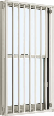 YKKAP窓サッシ 装飾窓 エピソード[Low-E複層防犯ガラス] 面格子付片上げ下げ窓 たて格子[Low-E透明4mm+合わせ型7mm]:[幅640mm×高970mm]