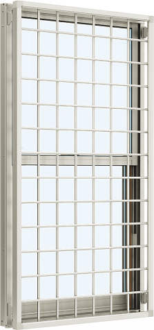 YKKAP窓サッシ 装飾窓 エピソード[Low-E複層防犯ガラス] 面格子付片上げ下げ窓 井桁格子[Low-E透明5mm+合わせ型7mm]:[幅640mm×高970mm]