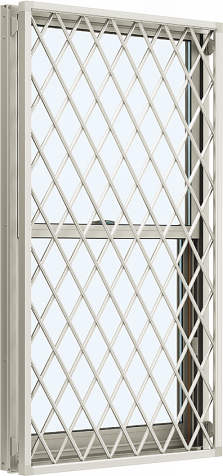 YKKAP窓サッシ 装飾窓 エピソード[Low-E複層防犯ガラス] 面格子付片上げ下げ窓 ラチス格子[Low-E透明4mm+合わせ型7mm]:[幅300mm×高970mm]