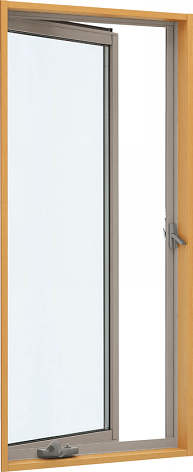 YKKAP窓サッシ 装飾窓 エピソード[Low-E複層防犯ガラス] たてすべり出し窓 オペレーター仕様Low-E透明3mm+合わせ型7mm:[幅405mm×高970mm]