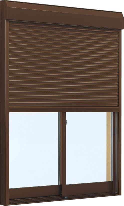 YKKAP窓サッシ 引き違い窓 フレミングJ[Low-E複層防犯ガラス] 2枚建[シャッター付] スチール耐風[外付]Low-E透明5+合わせ透明7:[幅1722mm×高703mm]