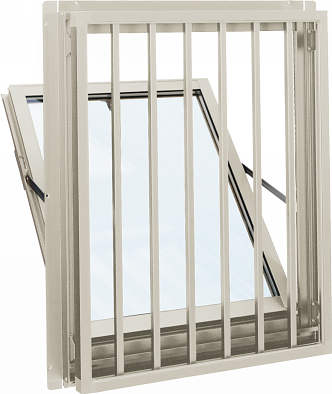 YKKAP窓サッシ 装飾窓 エピソード[Low-E複層防犯ガラス] 面格子付内倒し窓 たて格子[Low-E透明4mm+合わせ型7mm]:[幅640mm×高370mm]