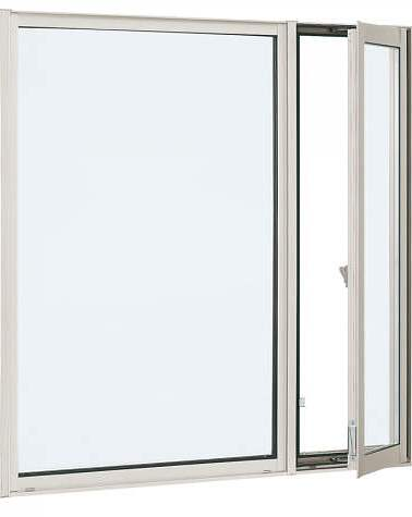 YKKAP窓サッシ 装飾窓 エピソード[Low-E複層防犯ガラス] 片側たてすべり出し窓+FIX窓 [Low-E透明4mm+合わせガラス透明7mm]:[幅1235mm×高1370mm]