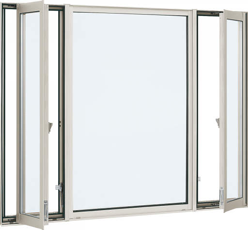 YKKAP窓サッシ 装飾窓 エピソード[Low-E複層防犯ガラス] 両側たてすべり出し窓+FIX窓 [Low-E透明3mm+合わせガラス型7mm]:[幅1690mm×高1170mm]