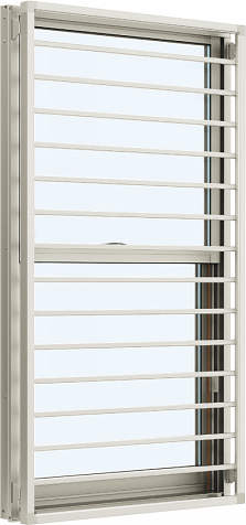 YKKAP窓サッシ 装飾窓 エピソード[複層防音ガラス] 面格子付片上げ下げ窓 横格子[透明4mm+透明3mm]:[幅300mm×高1170mm]