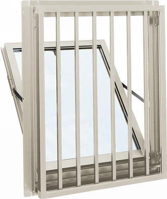 YKKAP窓サッシ 装飾窓 エピソード[複層防音ガラス] 面格子付内倒し窓 たて格子[透明4mm+透明3mm]:[幅640mm×高770mm]