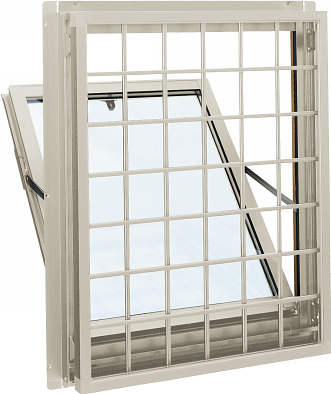 YKKAP窓サッシ 装飾窓 エピソード[複層防音ガラス] 面格子付内倒し窓 井桁格子[透明5mm+透明4mm]:[幅640mm×高370mm]