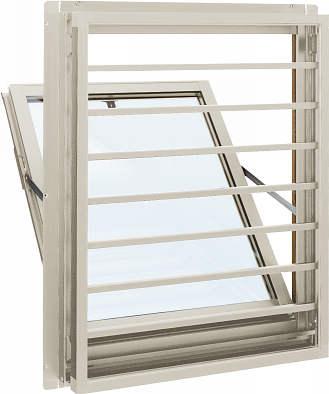 YKKAP窓サッシ 装飾窓 エピソード[複層防音ガラス] 面格子付内倒し窓 横格子[透明4mm+透明3mm]:[幅405mm×高370mm]