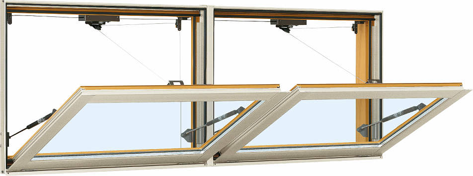 YKKAP窓サッシ 装飾窓 エピソード[複層防音ガラス] 外倒し窓 排煙錠仕様[透明5mm+透明4mm]:[幅1690mm×高770mm]