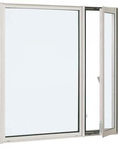 YKKAP窓サッシ 装飾窓 エピソード[複層防音ガラス] 片側たてすべり出し窓+FIX窓 [透明5mm+透明4mm]:[幅1235mm×高770mm]