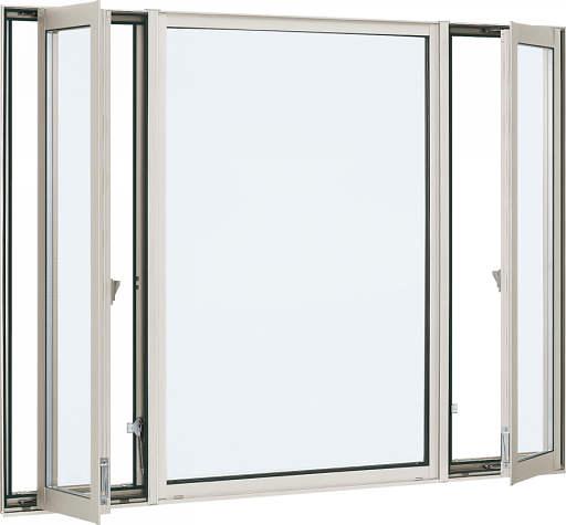 YKKAP窓サッシ 装飾窓 エピソード[複層防音ガラス] 両側たてすべり出し窓+FIX窓 [透明5mm+透明3mm]:[幅2600mm×高1370mm]