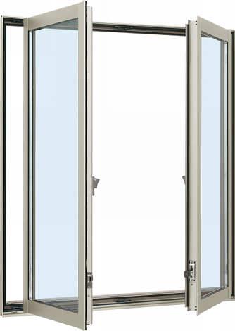 YKKAP窓サッシ 装飾窓 エピソード[複層防犯ガラス] 両たてすべり出し窓 グレモン仕様[型4mm+合わせ透明7mm]:[幅780mm×高970mm]