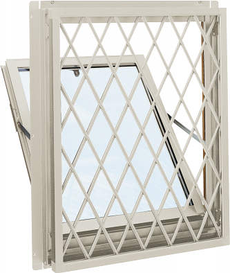 YKKAP窓サッシ 装飾窓 エピソード[複層防犯ガラス] 面格子付内倒し窓 ラチス格子[型4mm+合わせ透明7mm]:[幅730mm×高370mm]