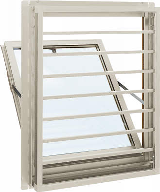 YKKAP窓サッシ 装飾窓 エピソード[複層防犯ガラス] 面格子付内倒し窓 横格子[透明5mm+合わせ透明7mm]:[幅640mm×高370mm]