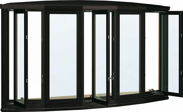 【好評にて期間延長】 YKKAP窓サッシ アルミ樹脂複合障子[Low-E透明5mm+透明3mm]:[幅2600mm×高1170mm]:ノース&ウエスト 出窓 弓型出窓[雨音軽減屋根] 居室用[出窓300][Low-E複層防音ガラス]-木材・建築資材・設備