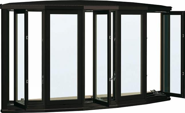 YKKAP窓サッシ 出窓 居室用[出窓300][複層防犯ガラス] 弓型出窓[雨音軽減屋根] アルミ樹脂障子[透明5mm+合わせ透明7mm]:[幅2600mm×高970mm]