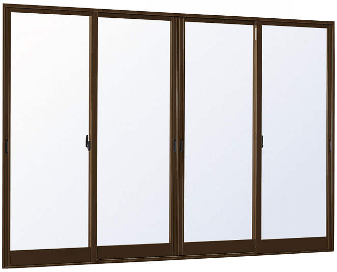 YKKAP窓サッシ 引き違い窓 エピソード[Low-E複層防犯ガラス] 4枚建 半外付型[Low-E透明3mm+合わせ透明7mm]:[幅3370mm×高2230mm]