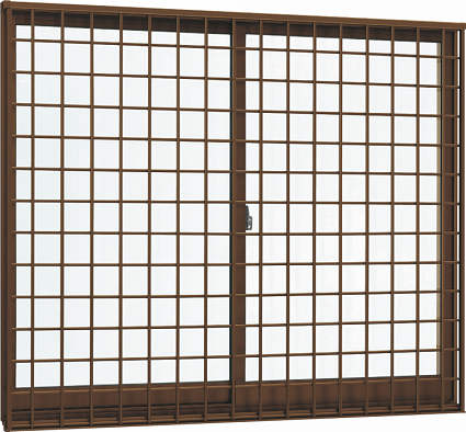 YKKAP窓サッシ 引き違い窓 エピソード[Low-E複層防犯ガラス] 2枚建[面格子付] 井桁格子[半外付][透明4mm+合わせ型7mm]:[幅730mm×高570mm]