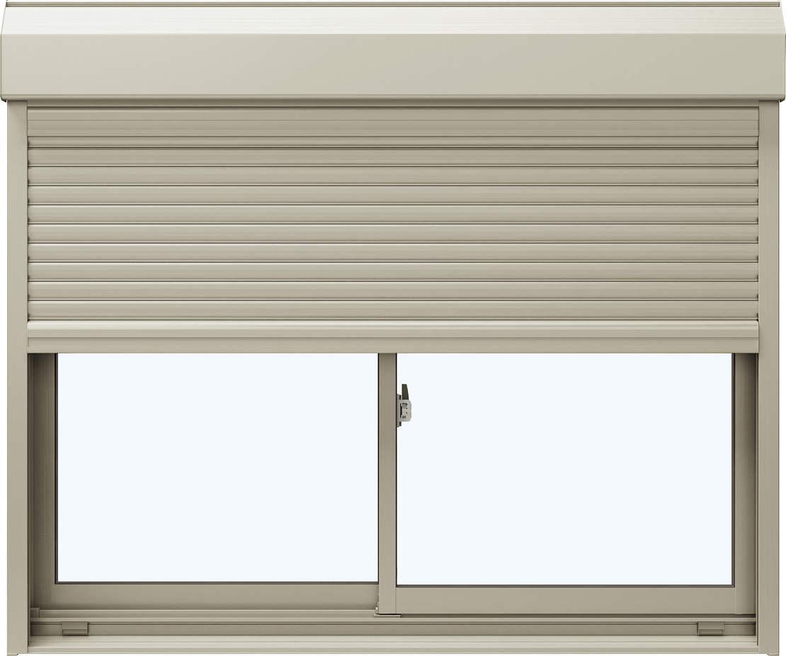 YKKAP窓サッシ 引き違い窓 エピソード[Low-E複層防犯ガラス] 2枚建[シャッター付] スチール耐風[半外]Low-E透明4+合わせ透明7:[幅1185mm×高970mm]