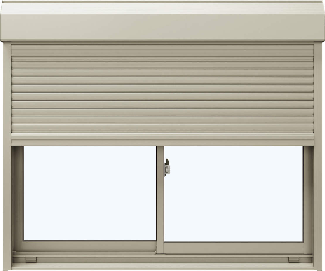 YKKAP窓サッシ 引き違い窓 エピソード[Low-E複層防犯ガラス] 2枚建[シャッター付] スチール耐風[半外]Low-E透明3+合わせ透明7:[幅1800mm×高2030mm]
