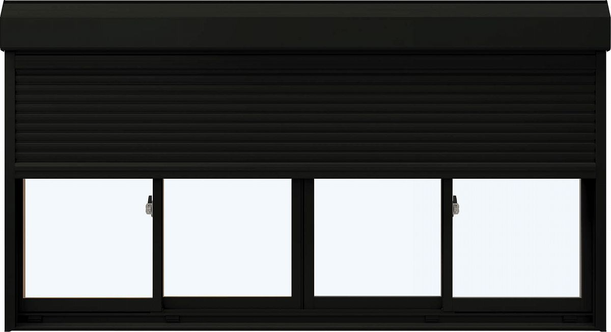 YKKAP窓サッシ 引き違い窓 エピソード[Low-E複層防犯ガラス] 4枚建[シャッター付] スチール耐風[半外]Low-E透明5+合わせ透明7:[幅2470mm×高1370mm]
