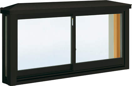 YKKAP窓サッシ 出窓 台所用[出窓220][複層防音ガラス] 角型出窓[標準屋根] アルミ障子[透明5mm+透明4mm]:[幅1235mm×高570mm]